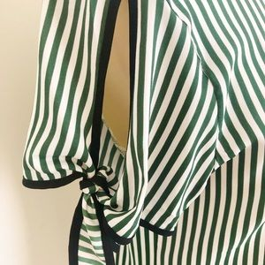 Ann Taylor Tops - White and Green Stripe Blouse by Ann Taylor